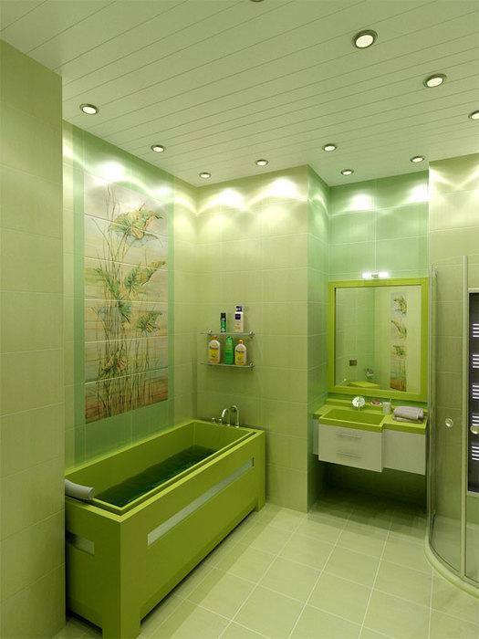 Дизайн ванной комнаты в зеленом цвете фото