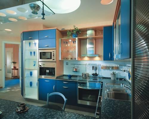 Дизайн кухни синего цвета дизайн